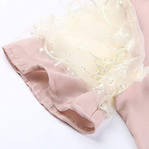 Giuntura Magliette Pizzo Manica Basic Shirts Rosa Elegante Di Estivi Alla Collo Camicetta Giovane Moda Tshirts Monocromo Corta Chiffon Donna Rotondo Ragazza AgPI4qwv