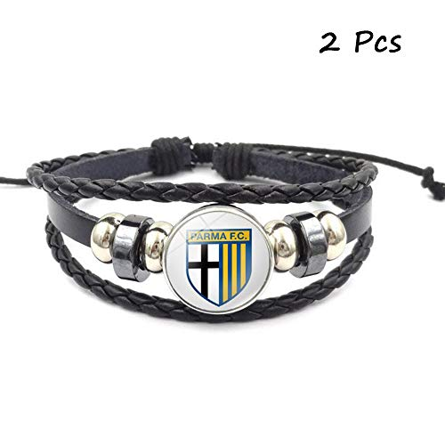 FANwenfeng Retro Serie A Soccer Club Badge Beaded Woven Leather Bracelet Football Sport Wristband for Fans 2 Pcs (Parma Calcio) ()