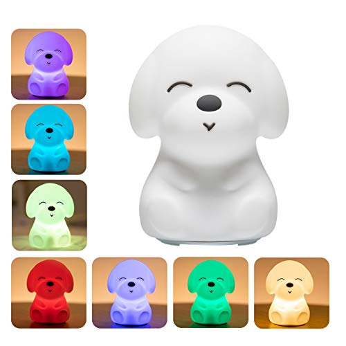 Night Lights for Kids, Mubarek Nightlights for Children,Cute Dog Animals Nursery SiliconeTimer Toddler Lamp for Girls/Baby, Portable Travel Rechargeable Color Changing Child Light, Birthday Gifts ()