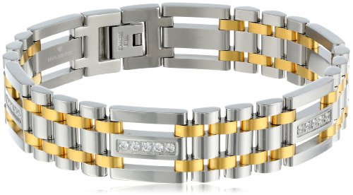 Mens Stainless Steel Two Tone Bracelet - Men's Cubic Zirconia Stainless Steel Two-Tone Bracelet, 9
