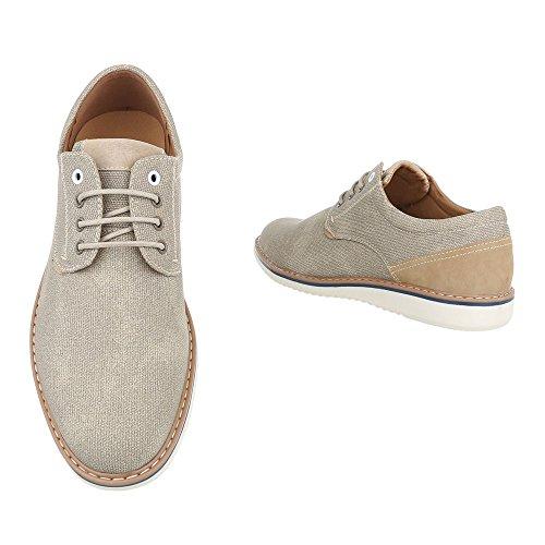Ital-Design - Zapatos Planos con Cordones Hombre Beige