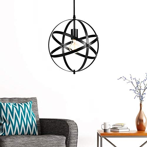 Modern Spherical Pendant Light, Rustic Chandelier Industrial Hanging Cage Globe Ceiling Light Fixture for Kitchen Island, Living Room, Bedroom, Dining Room Bulb Not Included Black