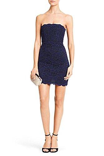 DVF Walker Navy Blue/Black Strapless Lace Dress (12) ()