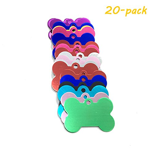 HUELE 20-PACK 38MM Pet ID Tag Bone Shape Double Sided Dog Cat Pet Name Phone Number ID Tag Charm - Id Tag Dog Charm Pet