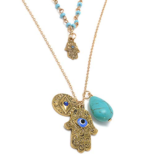 Tmrow Palm Shell Evil Eye Turquoise Greek Bead Pendant ()