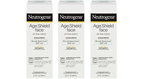 Neutrogena Age Shield Face gQuwm Oil-Free Lotion Sunscreen Broad Spectrum, SPF 110, 3 Ounce 3 Pack