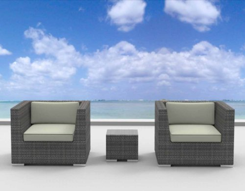Urban Furnishing - St. Croix Ultra Modern Outdoor Backyard Wicker Patio Furniture Sofa Chair 3pc All-Weather Couch Set - beige