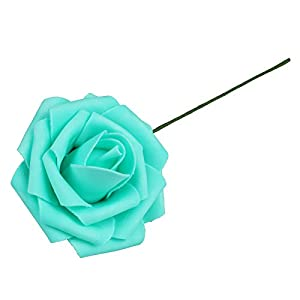 Vlovelife 50pcs Teal Blue Real Looking Fake Roses Artificial Flowers Roses Head With Stem for DIY Wedding Bouquets Centerpieces Arrangements Birthday Baby Shower Home Party Decorations 5