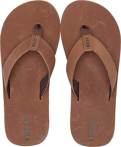 (Reef - Boys Kids Leather Smoothy Sandals, Size: 13/1 M US Little Kid, Color: Bronze Brown)