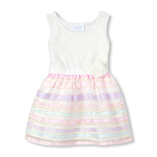 The Children's Place Baby Girls Special Occasion Printed Dress, Simplywht, 18-24MONTH]()