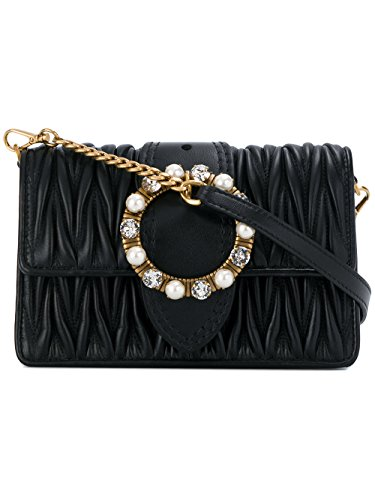 Miu Miu Women's 5Bl001n88f0002 Black Leather Shoulder Bag by Miu Miu