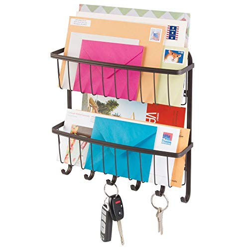 - mDesign Wall Mount Metal Farmhouse Mail Organizer Storage Basket - 2 Tiers, 6 Hooks - for Entryway, Mudroom, Hallway, Kitchen, Office - Holds Letters, Magazines, Coats, Leashes, Keys - Bronze
