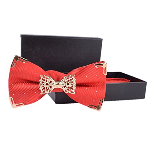 Hello Tie Solid Silver Dot Gold Edge Luxurious Pre-tied Bow Ties (Red Gold Bow)