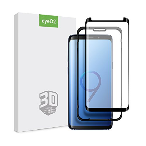 EyeO2 for Samsung Galaxy S9 Plus Screen Protector 3D Curved Full Adhesive Tempered Glass 9H Anti-Scratch, Anti-Fingerprint Screen Guard Edge to Edge HD Full Cover Screen Film 2 Pack Case Friendly