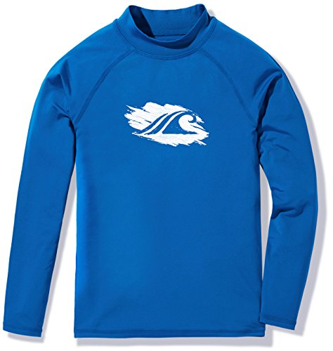 TSLA Boys UPF 50+ Long Sleeve Rashguard Youth Surf Kids Swim Top, Boy Long Sleeve(bsr10) - Royal Blue, Small -