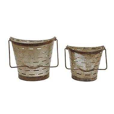 Creative Co-Op Metal Bucket Set, Gray