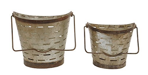 Creative Co-op Distressed Metal Olive Buckets with Handles (Set of 2 Sizes)