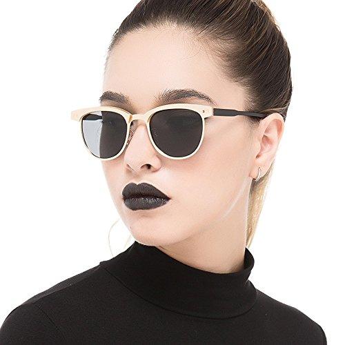 Del Gafas La De Sol De Mujer De Calidad De Semillas Alta Polarizadas Sin Gold Bastidor TIANLIANG04 Oro Aleación Sol Gafas Modo Gray Reborde De Gris p8CO4w