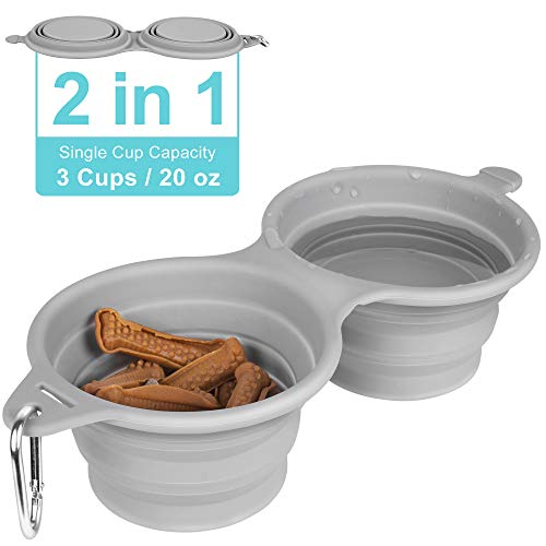 LumoLeaf Collapsible Dog Travel Bowls Duo, Food Grade BPA Free Silicone Pet Bowls Set, Dog Cat Pop up Portable Food Water Feeder Bowls with Aluminum Carabiner Clip.