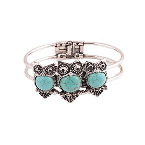 Price comparison product image Gillberry Bohemian Style Retro Cute Owl Plating Lady Bracelet With Turquoise (Blue)