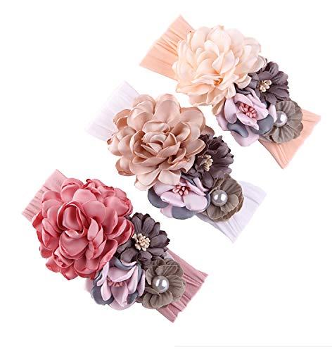 Baby Girl Nylon Headbands Newborn Infant Toddler Hairbands Knotted Children Soft Headwrap Hair Head Wrap Chiffon Flowers Accessories (Ai13-3pcs)