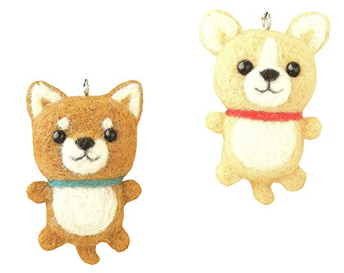 Cool Beans Boutique Wool Felting DIY Kit - Shiba Inu and Chihuahua Dogs with Straps (with English Instructions) - Imported from Japan