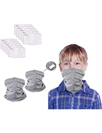 Kids Face Scarf Bandanas Neck Gaiter with Safety Carbon Filters,Breathable Face Cover for Boys Girls Sports/Outdoors 12pcs