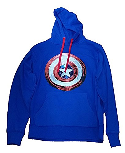 Marvel Comics Captain America Logo Licensed Graphic Hoodie Blue