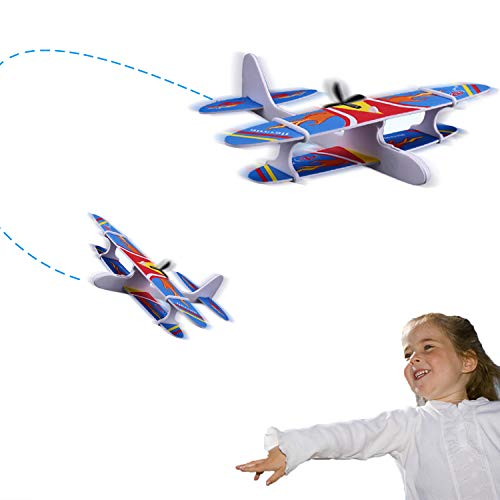 Ziwing Hand Throw Flying Glider Planes for Kids,DIY Airplane Kit -Electric Powered -Foam Airplane -Science Educational Toy Outdoor Play (Electric Airplane Glider)