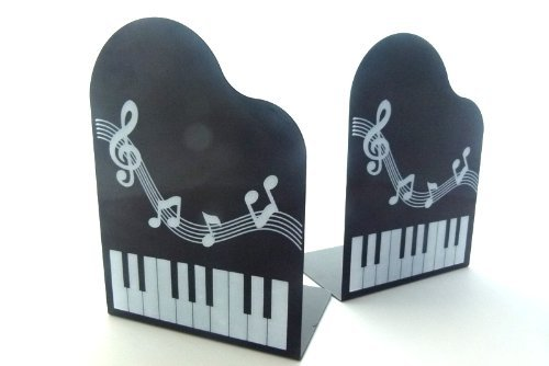 Funmusic bookend grand piano shape with musical note book stand pair accessories studio - Piano bookends ...