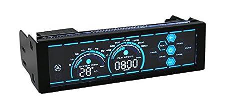 , LCD, Metal, Tocar 5.25 Ventilador para Caja de Ordenador 6 Canales, Negro, 13,3 cm LC-Power LC-CFC-2 6channels 5.25 LCD Negro Controlador de Velocidad de Ventilador