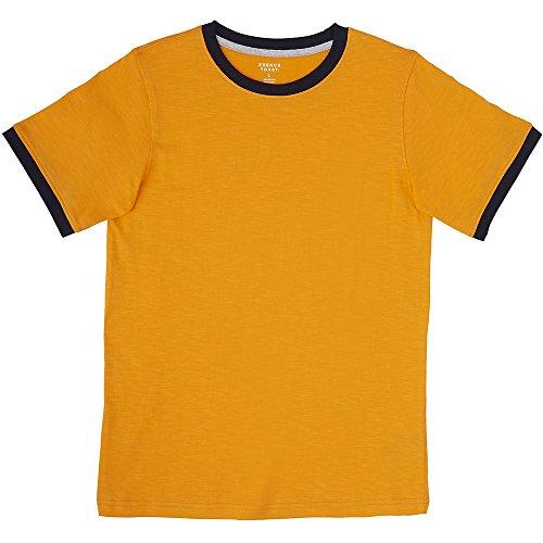 (French Toast Little Boys' Short Sleeve Ringer Crew Neck Tee Shirt, Bright Orange, 5)
