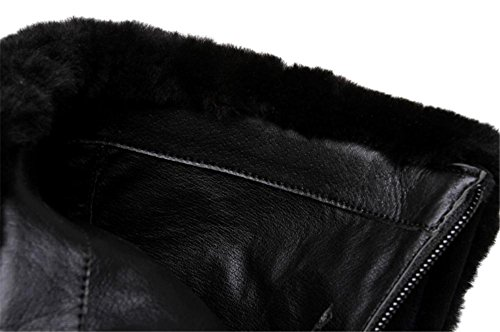 NVXIE Women's Ladies Ankle High Short Boots Stiletto Heel Pointed Leather Black Martin Fall Winter Party BLACK-EUR38UK55 oQq3O0cN