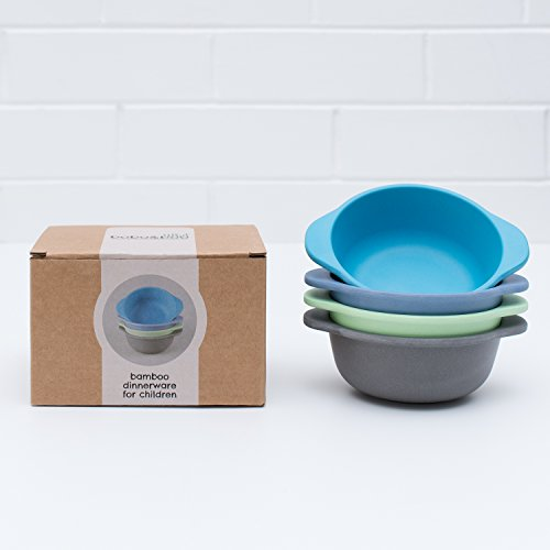 Bobo&Boo Bamboo Kids Snack Bowls, Set of 4 Bamboo Dishes, Non Toxic, Eco Friendly & Stackable Kids Snack Containers, Great Gift for Baby Showers, Birthdays & Preschool Graduations,Coastal (Baby Bobo)