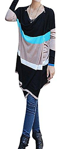 Maze, Women's Colorful Striped Button Detail Long Sleeve
