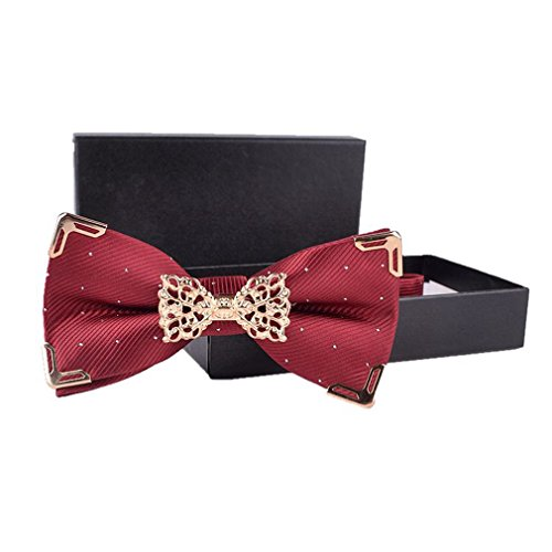 Hello Tie Solid Silver Dot Gold Edge Luxurious Pre-tied Bow Ties Wine Red ()