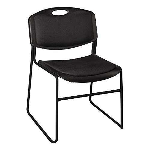 Norwood Commercial Furniture Heavy-Duty Plastic Stacking Chair w Padded Seat and Back, Black, NOR-FEI1062-SO Pack of 4