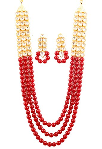 """Touchstone """"Contemporary Kundan Collection Indian Bollywood Fine Mughal Craftsmanship Kundan Look Identical Red Onyx Triple Line Strings Long Wedding Designer Jewelry Necklace Set in Antique Gold Ton"""