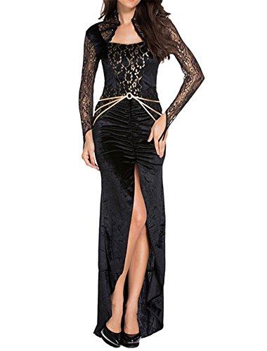[VIGVOG Women's Sexy Lace Crochet Halloween Cosplay Costume Party Dress] (Zombie Bunny Halloween Costume)