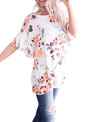 LAINAB Women Flare Sleeve Floral Print Casual Loose T Shirt Blouse White M