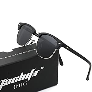 Tacloft Classic Clubmaster Sunglasses Polarized 51MM Horn Rimmed Sunglasses Half Frame TL6005