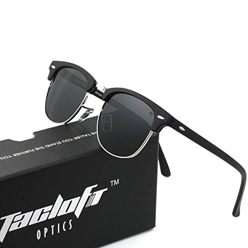Tacloft Classic Clubmaster Unbroken TR90 Sunglasses Polarized 51MM Horn Rimmed Sunglasses Half Frame TL6005