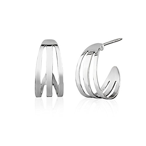 (925 Sterling Silver Open Three (3) Lines Simple Half C Shape Ear Huggie Hoop Minimalist Earrings)