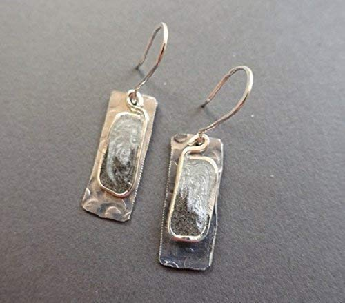 silver and black resin and aluminum rectangle earrings