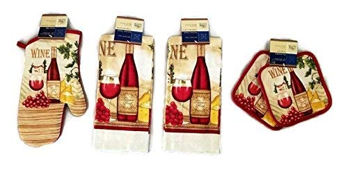 (Home Collection Wine & Cheese Lovers Kitchen Linen Set (#2018) (Includes: one oven mitt, two towels, and two pot holders) )