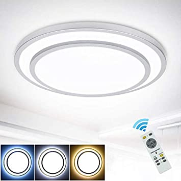 Dllt 48w Dimmable Led Flush Mount Ceiling Light Lighting With Remote 20 Inch Close To Ceiling Lights Fixture For Bedroom Living Room Dining Room 3000k 6000k Color Changeable Amazon Com