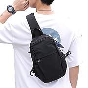 Small Black Sling Crossbody Backpack Shoulder Bag for Men Women, Lightweight Waterproof One Strap Backpack Sling Bag…