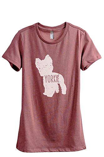 (Thread Tank Yorkie Dog Silhouette Women's Fashion Relaxed T-Shirt Tee Heather Rouge Large)