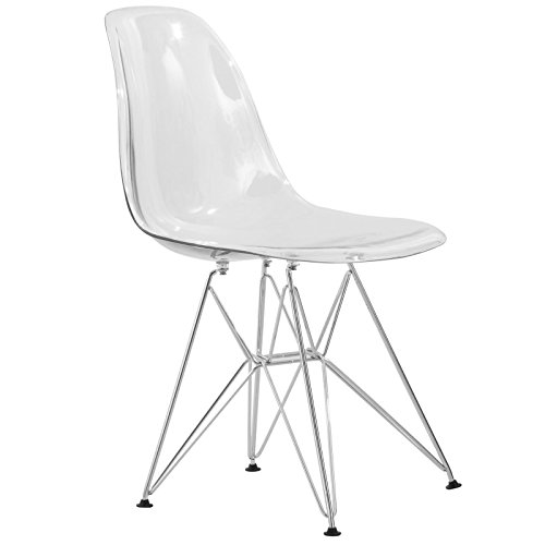 LeisureMod Cresco Molded Eiffel Side Chair, Clear (Outdoor Replica Furniture Table)