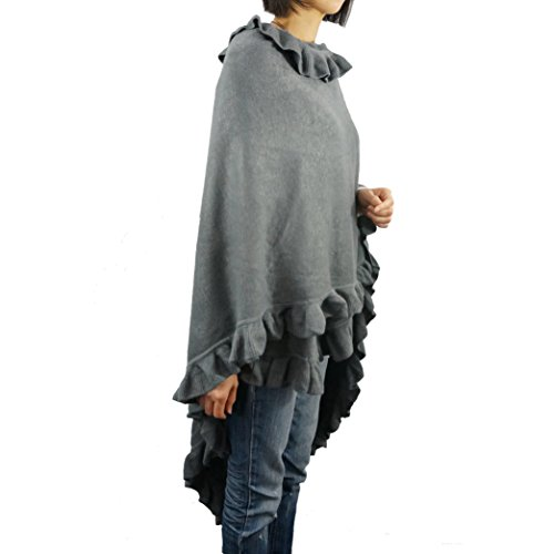 (Women Ruffle Edge Poncho Knitted Shawl Premium Lady Soft Knit Cape Jacket Fashion Scarf Stretchy Wrap Over Solid Color Girl Large Shawl Elegant Cloak Warmer - Slate)